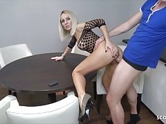 German Young Wife Alex Seduce the  Pizza Delivery to Fuck