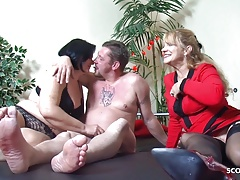Old German Couple at First Threesome with Big Tits Mature