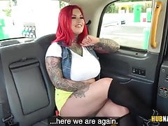John Bishop fucks chubby redhead Sabien DeMonia in the car