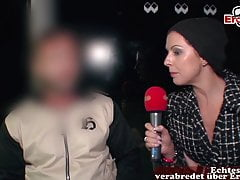 Real public flashing at street casting with unknown people
